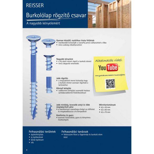 Reisser Fa burkolólap rögzítő csavar 4,5x50mm(250db/doboz)